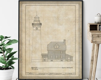Outer Island Lighthouse Elevation Print - Lighthouse Art, Architectural Drawing, Nautical Wall Decor, Coastal Print, Lake Superior Wall Art