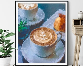 "Cappuccino Print ""At the Cafe"" -Coffee Gift, Coffee Bar Decor, Oil Painting Poster, Kitchen Wall Art, Foodie Gift, Breakfast Nook Wall Decor"