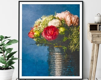 Flower Vase Print -Floral Oil Painting Poster, Flower Bouquet Wall Art, Abstract Rose Wall Decor, Gift for Gardener, Modern Plant Lover Gift
