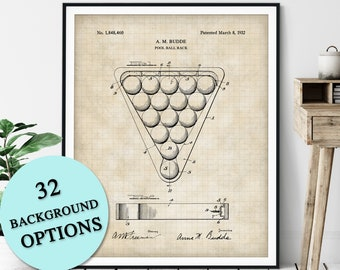 Pool Ball Rack Patent Print - Customizable Billiards Blueprint Plan, Pool Player Gift, Billiards Art Poster, Pool Hall Decor, Game Room Art