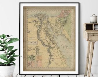 1884 Egypt Map Print, Vintage Egypt Map Art, Antique Map, Egypt Art, Old Map, Egypt Print, Egypt Wall Art, Arabia, Petrea, Mediterranean Sea