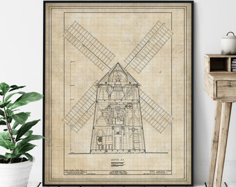 Hook Windmill Elevation Print - Windmill Art, Hamptons Wall Art, NY Architectural Drawing, Windmill Blueprint, Windmill Print, Windmill Art