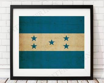 Honduras Flag Print, Honduras Flag Art, Honduran Flag, Honduras Gifts, Flag Poster, Moving Gift, Vintage Flag Wall Art, Honduran Art