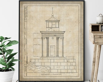 Portland Breakwater Lighthouse Elevation Print - Bug Light, Lighthouse Art, Architectural Drawing, Nautical Wall Decor, Coastal Print, Maine