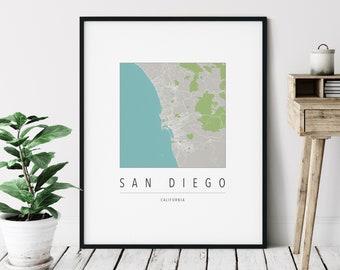 San Diego CA Map Print - Modern San Diego Art, Minimalist San Diego Print, San Diego Gifts, San Diego California Art, San Diego Wall Art