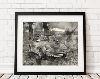 Vintage VW Watercolor Print - Volkswagen Painting - Antique Car Watercolor Painting - Watercolor VW Beetle Wall Art VW Decor Car Lover Gift