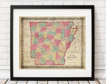 1857 Arkansas Map Print, Vintage Map Art, Antique Map, Wall Art, Map of Arkansas, Old Map, Arkansas Art, Arkansas Gifts, Arkansas Print
