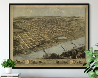 1868 Omaha Nebraska Birds Eye View Print - Vintage Map Art, Antique Map Print, Aerial View Poster, Historical Art, Ohio Wall Art, Street Map