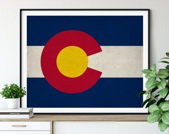 Colorado Flag Art, Colorado Flag Print, Flag Poster, State Flags, Colorado Print, Housewarming Gift Idea, Flag Painting, Colorado Art