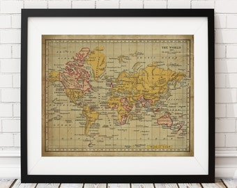 1907 World Map Print, British Empire, Vintage Map Art, Antique Map Wall Art, Wall Decor, History Gift, Cartography, Atlas, World Map Poster