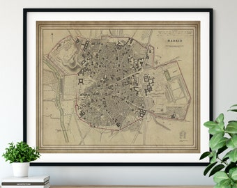 1831 Madrid Spain Map, Vintage Map Art, Antique Map Print, Old Map Wall Art, Madrid Print, Madrid Art, Madrid Map, Spanish Gift, Plaza Mayor