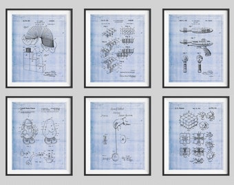 Toy Patent Print Set, Panel Art, Vintage Toy Art, Kids Room Art, Boys Room Wall Art, Geek Gift, Nerd Gifts, Yoyo, Slinky, Legos, Toy Gun