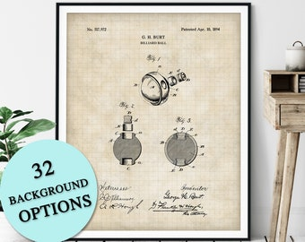 Billiard Ball Patent Print - Customizable Pool Ball Blueprint Plan, Pool Player Gift, Billiards Art Poster, Pool Hall Decor, Game Room Art