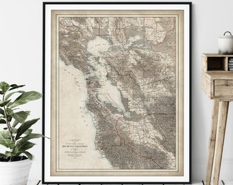 1873 Bay of San Francisco Map Print - Vintage California Map Art, Antique Map, Old Map Poster, Santa Clara, San Jose, Sausalito, San Rafael
