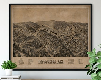 1888 Hot Springs Arkansas Birds Eye View Print - Vintage Map Art, Antique Map Print, Aerial View Poster, Historical Art, Arkansas Wall Art
