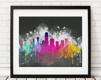 Dallas Skyline Print, Dallas Art, Dallas Print, Watercolor Art, Watercolor Painting, City Prints, Watercolor Skyline, Christmas Gift Idea