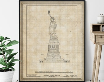 Statue of Liberty Elevation Print - Historic Landmark Blueprint, Architecture Plan, Architectural Drawing, NYC Wall Art, New York Print