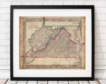 1864 Virginia Map, West Virginia Map, Vintage Map Art, Antique Map Print, Old Map, Map of Virginia, Map of West Virginia, State Maps, VA, WV