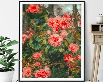 Rose Bush Print - Oil Painting Poster, Floral Wall Decor, Pink Flowers Wall Art, Abstract Roses, Gift for Gardener, Plant Lover Gift