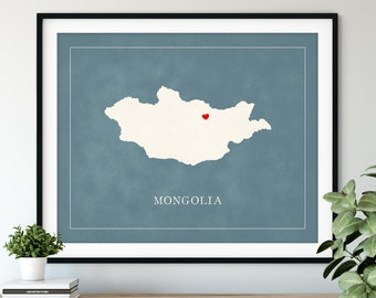 Custom Mongolia Map Art - Heart Over ANY City - Customized Country Map Silhouette, Personalized Gift, Hometown Love Print, Travel Heart Map