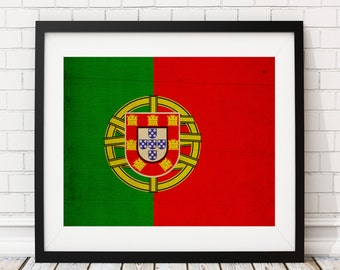 Portugal Flag Art,  Portugal Flag Print, Flag Poster, Country Flags, Portuguese Art, Portuguese Gifts, Portugal Poster, Flag Painting