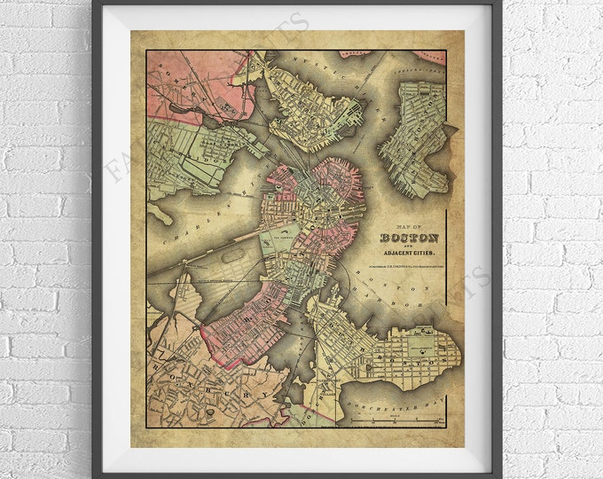 Featured listing image: 1855 Boston Map Print, Boston MA, Boston Massachusetts Map Art, Boston Art, Boston Gifts, Antique Map, Vintage Map Poster, Massachusetts Art