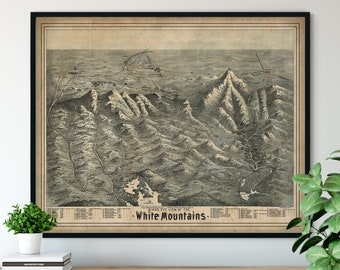 1890 White Mountains Birds Eye View Print - Vintage Map Art, Antique Street Map Print, New Hampshire Aerial View Poster, Historic Art, Gift