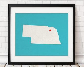 Custom Nebraska State Art, Customized State Map Art, Personalized Gift, Nebraska Art, Heart Map, Nebraska Map, Nebraska Print