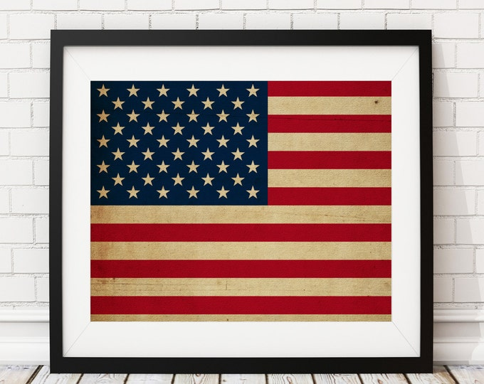Featured listing image: United States Flag, American Flag, United States of America Flag, Flag Art, Flag Print, US, USA, Patriotic Decor, Military Gifts, Christmas