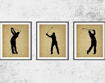 Golf Print Set, Golf Art, Panel Art, Golf Gifts for Men, Golf Decor, Gift for Golfers, Man Cave Art, Sports Wall Decor, Gifts for Him