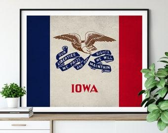Iowa Flag Art, Iowa Flag Print, Iowa Poster, State Flags, Iowa Art, Iowa Gifts, Iowa Wall Art, Living Room Wall Decor, Contemporary Prints