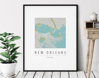 New Orleans LA Map Print - Modern New Orleans Art, Minimalist New Orleans Print, New Orleans Gifts, New Orleans Louisiana Wall Art, NOLA art