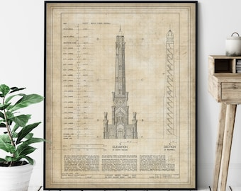 Chicago Water Tower Elevation Print - Historic Landmark Blueprint, Architecture Plan, Architectural Drawing, Chicago Art, Chicago Print Gift