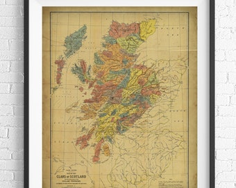 1899 Clans of Scotland Map Print, Vintage Map Art, Antique Map, Scottish Wall Art, Scotland Art, Scotland Print, History Gift, Old Maps