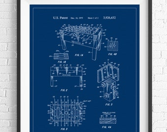 Foosball Patent Print, Game Room Art, Game Art, Game Room Wall Art, Gifts for Him, Blueprint, Vintage Patent Poster, Game Room Decor