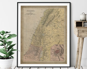 1912 Palestine Map Print, Vintage Palestine Map Art, Antique Map, Palestine Art, Old Map, Palestine Print, Home Office Wall Art, Palestinian