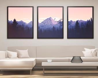 Landscape Print Set, Mountain Print, Panel Art, Panel Wall Art, Mountain Art, Landscape Painting, Large Wall Art, Gift, Living Room Art