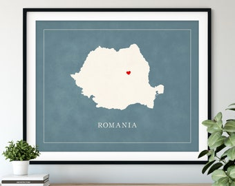 Custom Romania Map Art - Heart Over ANY City - Customized Country Map Silhouette, Personalized Gift, Hometown Love Print Travel Heart Map