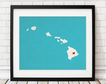 Custom Hawaii State Art, Customized State Map Art, Personalized Gift, Hawaii Art, Heart Map, Hawaii Map, Hawaiian Love Map, Hawaii Print