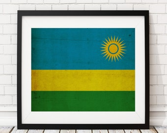 Rwanda Flag Art, Rwanda Flag Print, Flag Poster, Country Flags, Flag Painting, Flag Poster, African Art, Africa, African Gifts