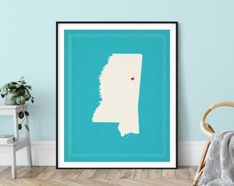 Custom Mississippi State Art, Customized State Map Art, Personalized, Mississippi Art, Heart Map, Mississippi Map, Love, Mississippi Print