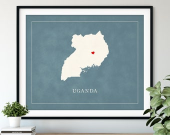 Custom Uganda Map Art, Heart Over ANY City, Customized Country Map Silhouette, Personalized Gift Hometown Love Print Travel Heart Map Decor