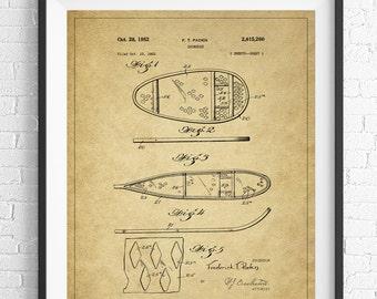 Snowshoe Patent Print, Snowshoe Decor, Winter Art, Winter Print, Vintage Patent Poster, Antique Blueprint, Winter Sports, Gift Idea