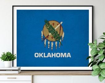 Oklahoma Flag Art, Oklahoma Flag Print, State Flag Poster, OK Flag Painting, Living Room Art, Gallery Wall Ideas, State Pride Gift, Office