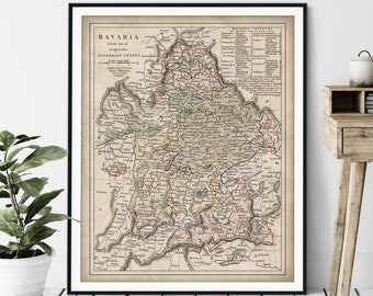 1806 Bavaria Map Print - Vintage Bavarian Map Art, Antique Map, Old Map Poster, Munich Germany Wall Art, German Gift, Salzburg, Franconia