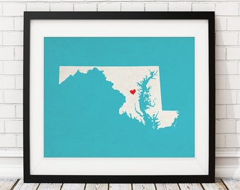 Custom Maryland State Art, Customized State Map Art, Personalized Gift, Maryland Art, Heart Map, Maryland Map, MD Gifts, Maryland Print