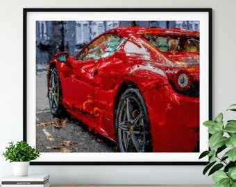 "Sports Car Print - ""Cherry Red"" - Luxury Car Driver Gift, Oil Painting Poster, Chess Artwork, Game Room Wall Art, Home Office Wall Decor"