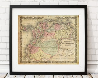 1855 New Granada Map, Vintage Map Art, Antique Map Print, Wall Art, History Gift, Venezuela Map, Ecuador Map, Panama, Colombia, Old Maps,