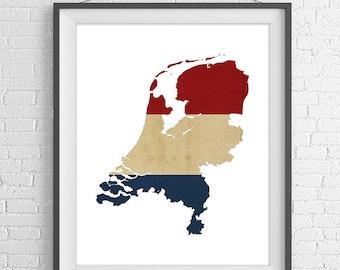 Netherlands Flag Map Print, Netherlands Map, Netherlands Silhouette, Amsterdam Art, Flag Poster, Holland Wall Art, Map of Netherlands Print