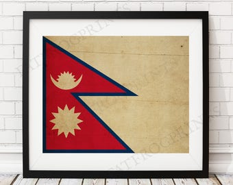 Nepal Flag Print, Nepal Flag Art, Nepal Gifts, Flag Poster, Nepalese Art, Vintage Flag Wall Art, Nepal Art, Antique Flag, Nepalese Gifts